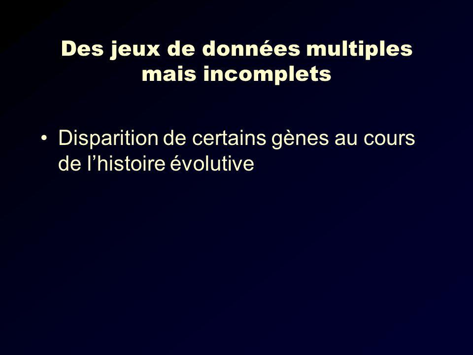 Des jeux de données multiples mais incomplets Disparition de certains gènes au cours de lhistoire évolutive