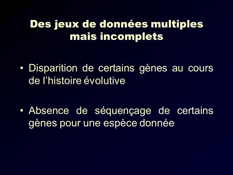 Des jeux de données multiples mais incomplets Disparition de certains gènes au cours de lhistoire évolutive Absence de séquençage de certains gènes pour une espèce donnée