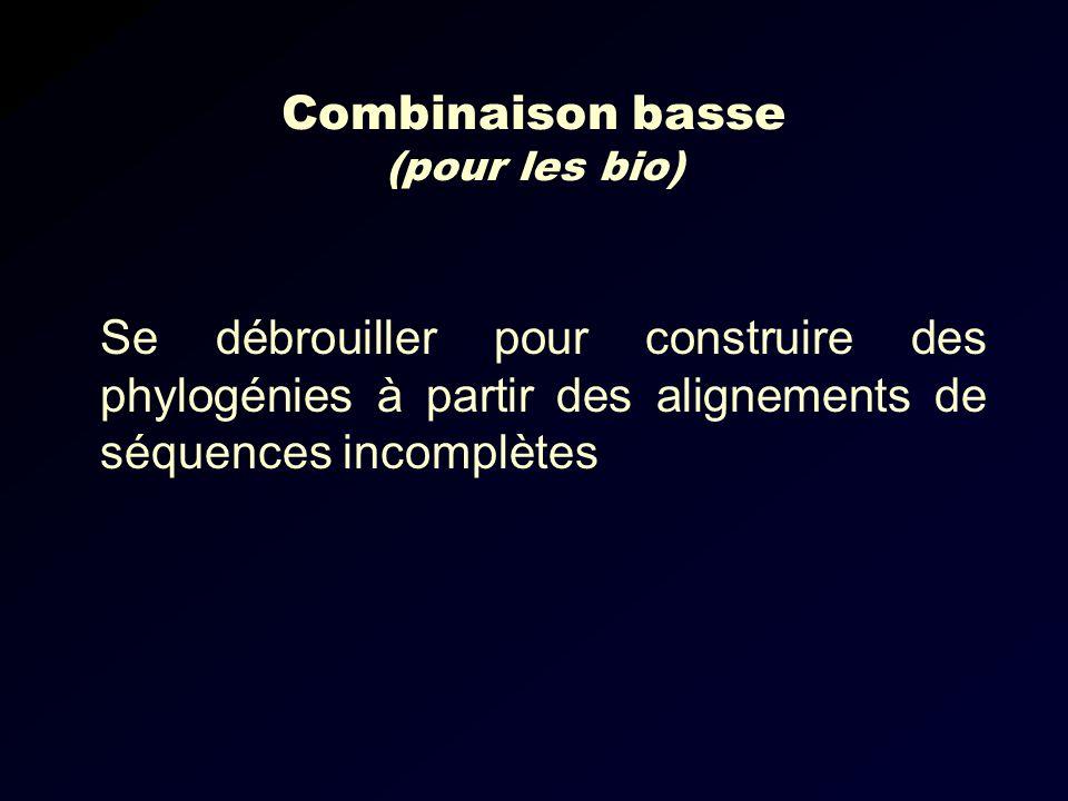 Combinaison basse (pour les bio) Se débrouiller pour construire des phylogénies à partir des alignements de séquences incomplètes