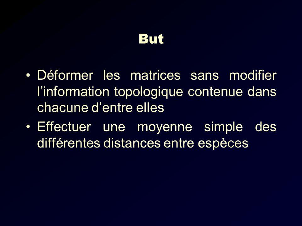 But Déformer les matrices sans modifier linformation topologique contenue dans chacune dentre elles Effectuer une moyenne simple des différentes distances entre espèces