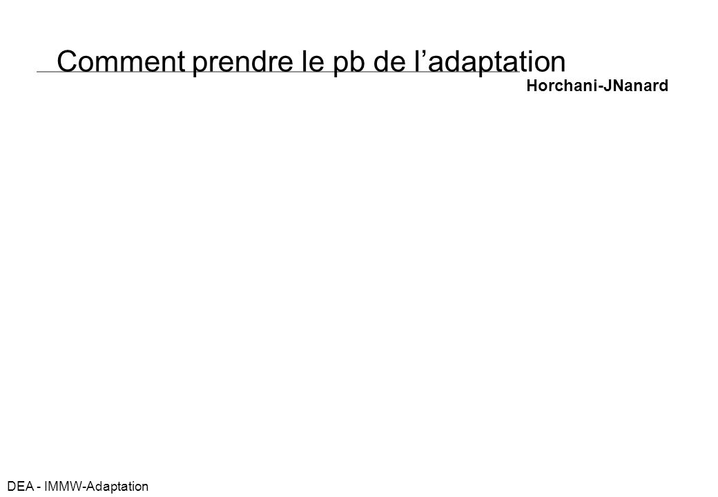 DEA - IMMW-Adaptation Comment prendre le pb de ladaptation Horchani-JNanard