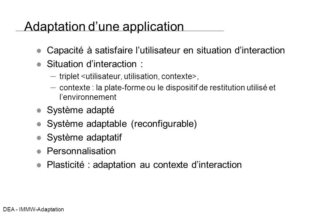 DEA - IMMW-Adaptation Aborder ladaptation Pourquoi faire des systèmes adaptatifs .