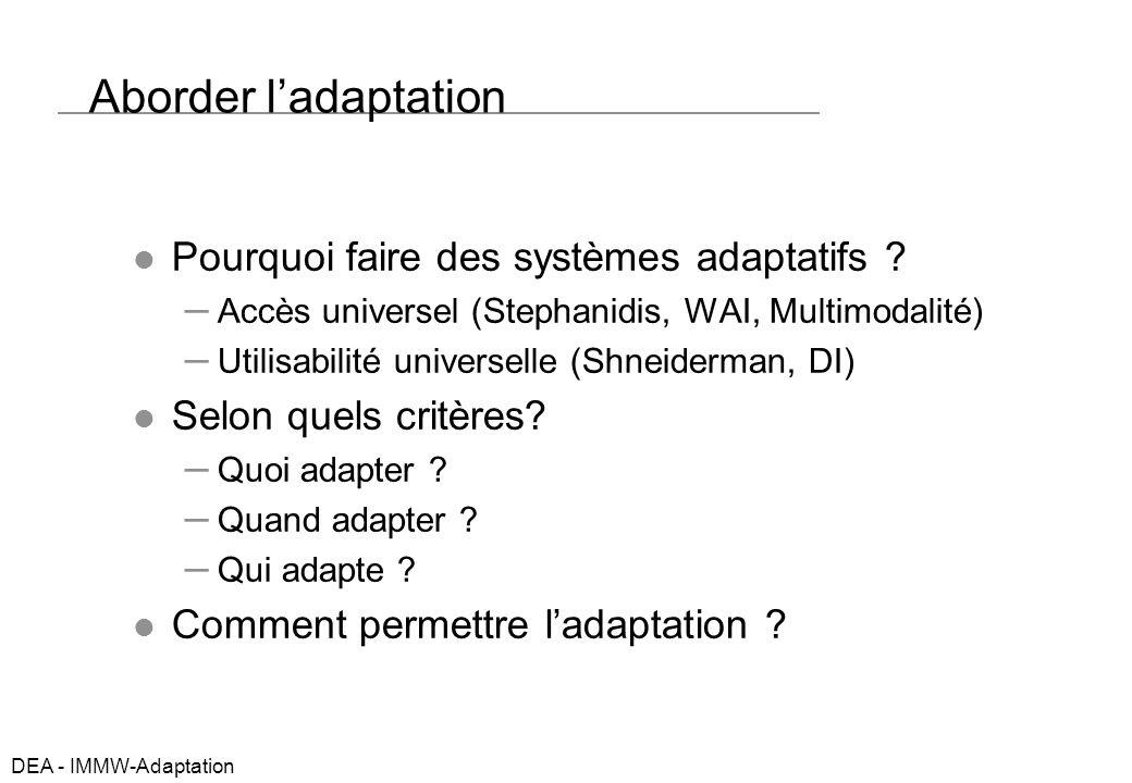 DEA - IMMW-Adaptation Exemples Adaptive Hyperfiction Adaptive HM for learning Dialogue adaptatif (…intelligent…) Le web primitif Et le Wap.