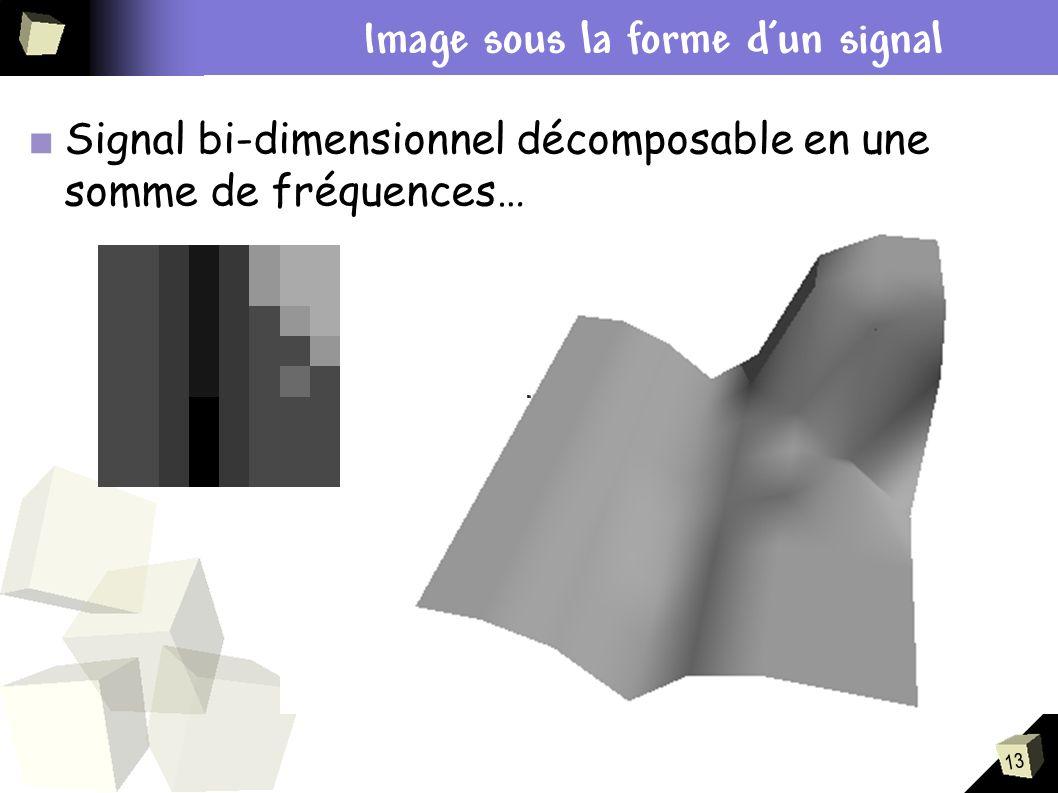 13 Plan Signal bi-dimensionnel décomposable en une somme de fréquences… Image sous la forme dun signal