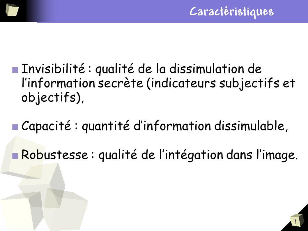 7 Plan Invisibilité : qualité de la dissimulation de linformation secrète (indicateurs subjectifs et objectifs), Capacité : quantité dinformation diss