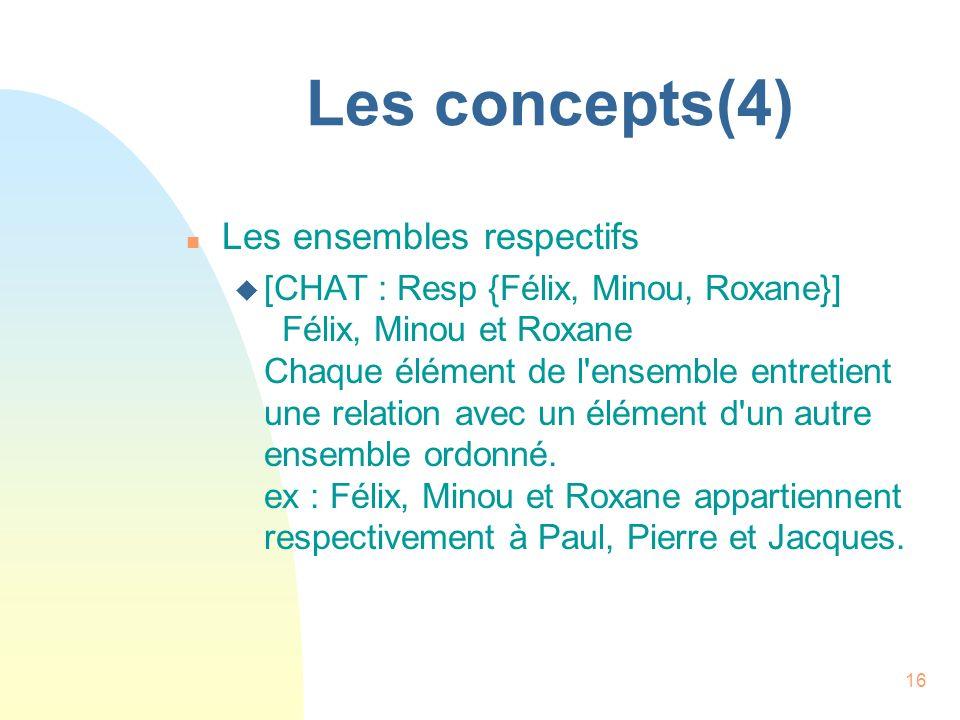 16 Les concepts(4) n Les ensembles respectifs u [CHAT : Resp {Félix, Minou, Roxane}] Félix, Minou et Roxane Chaque élément de l'ensemble entretient un