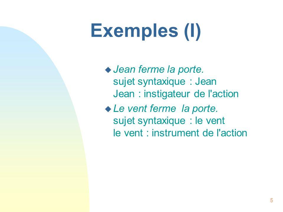 5 Exemples (I) u Jean ferme la porte. sujet syntaxique : Jean Jean : instigateur de l'action u Le vent ferme la porte. sujet syntaxique : le vent le v