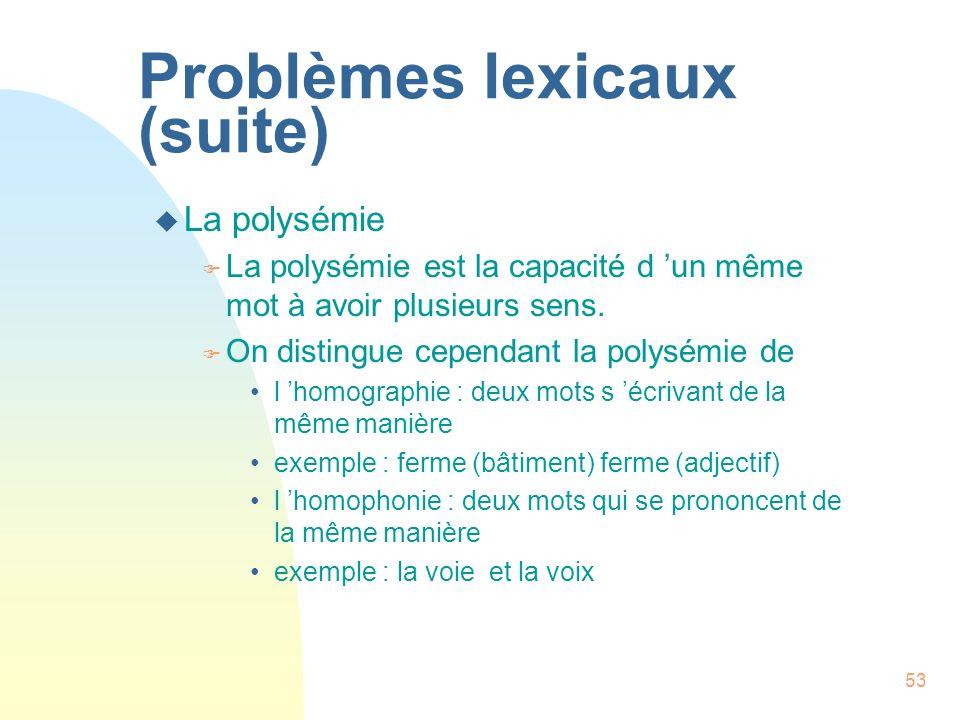 53 Problèmes lexicaux (suite) u La polysémie F La polysémie est la capacité d un même mot à avoir plusieurs sens. F On distingue cependant la polysémi