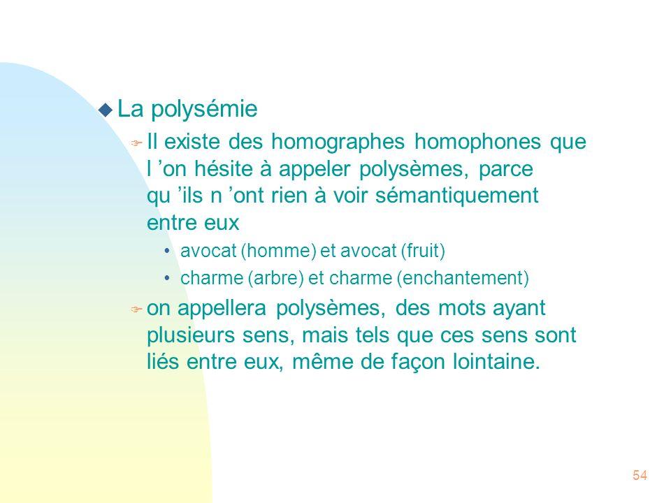 54 u La polysémie F Il existe des homographes homophones que l on hésite à appeler polysèmes, parce qu ils n ont rien à voir sémantiquement entre eux