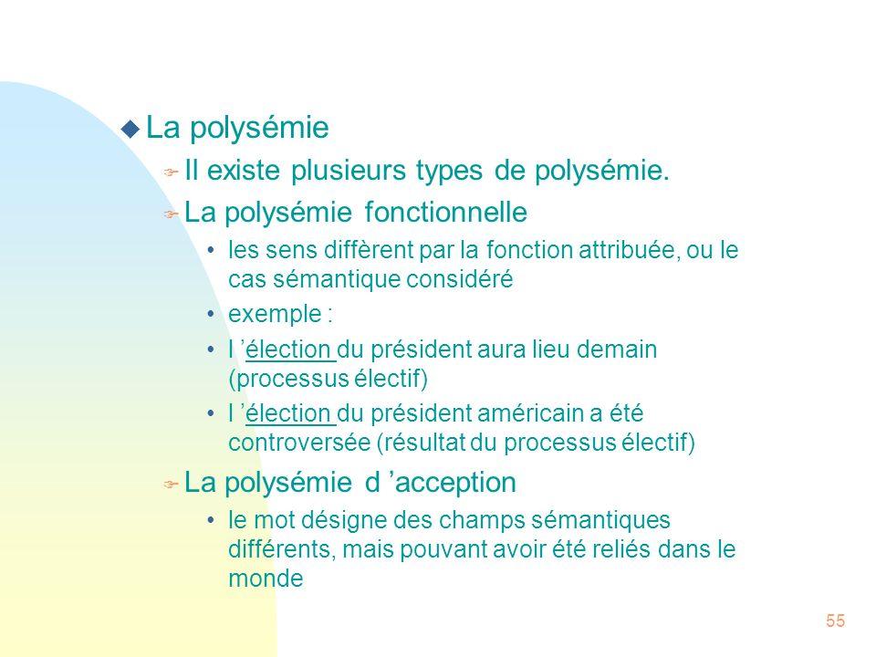 55 u La polysémie F Il existe plusieurs types de polysémie. F La polysémie fonctionnelle les sens diffèrent par la fonction attribuée, ou le cas séman