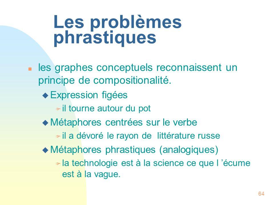 64 Les problèmes phrastiques n les graphes conceptuels reconnaissent un principe de compositionalité. u Expression figées F il tourne autour du pot u
