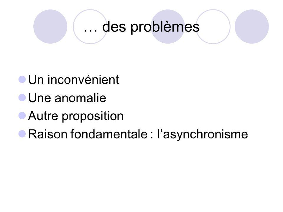 … des problèmes Un inconvénient Une anomalie Autre proposition Raison fondamentale : lasynchronisme