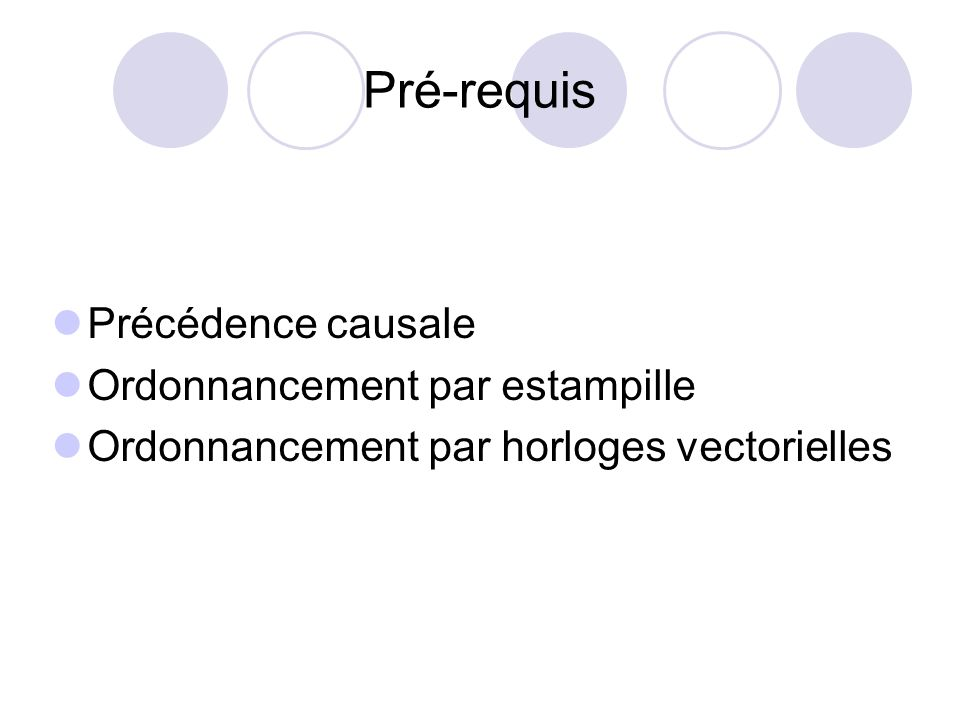 Pré-requis Précédence causale Ordonnancement par estampille Ordonnancement par horloges vectorielles