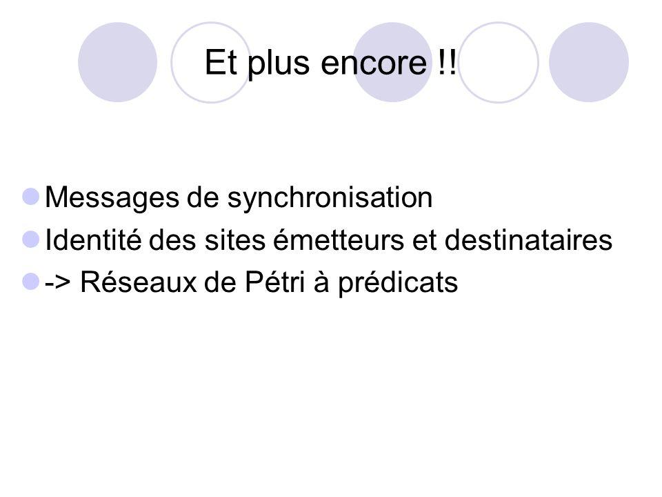 Et plus encore !! Messages de synchronisation Identité des sites émetteurs et destinataires -> Réseaux de Pétri à prédicats