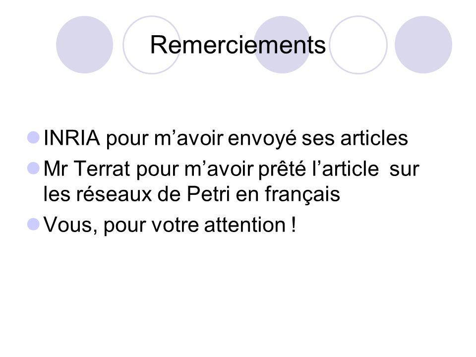 Remerciements INRIA pour mavoir envoyé ses articles Mr Terrat pour mavoir prêté larticle sur les réseaux de Petri en français Vous, pour votre attenti