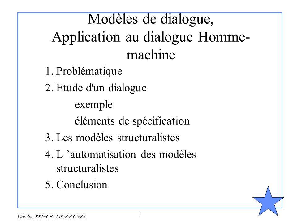 1 Violaine PRINCE, LIRMM CNRS Modèles de dialogue, Application au dialogue Homme- machine 1.Problématique 2.Etude d'un dialogue exemple éléments de sp