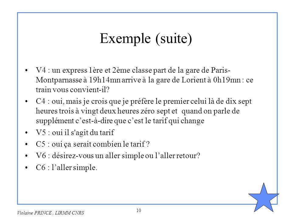 10 Violaine PRINCE, LIRMM CNRS Exemple (suite) V4 : un express 1ère et 2ème classe part de la gare de Paris- Montparnasse à 19h14mn arrive à la gare d