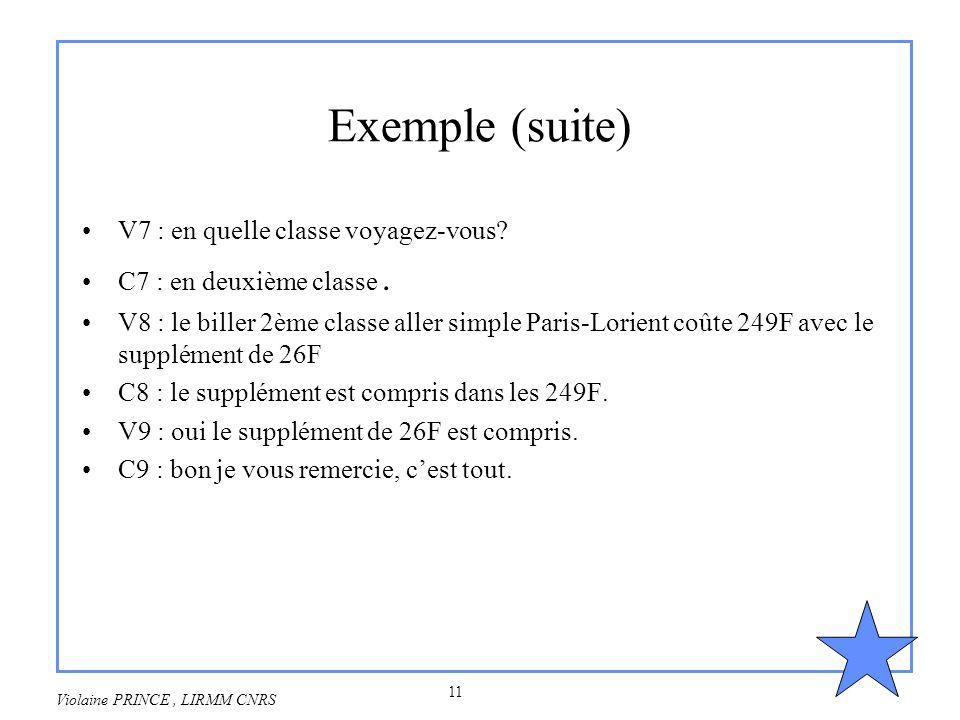11 Violaine PRINCE, LIRMM CNRS Exemple (suite) V7 : en quelle classe voyagez-vous? C7 : en deuxième classe. V8 : le biller 2ème classe aller simple Pa