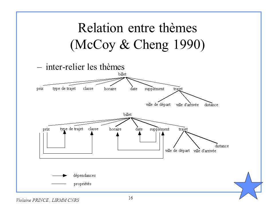 16 Violaine PRINCE, LIRMM CNRS Relation entre thèmes (McCoy & Cheng 1990) –inter-relier les thèmes