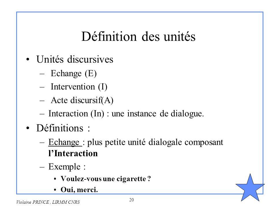 20 Violaine PRINCE, LIRMM CNRS Définition des unités Unités discursives – Echange (E) – Intervention (I) – Acte discursif(A) –Interaction (In) : une i