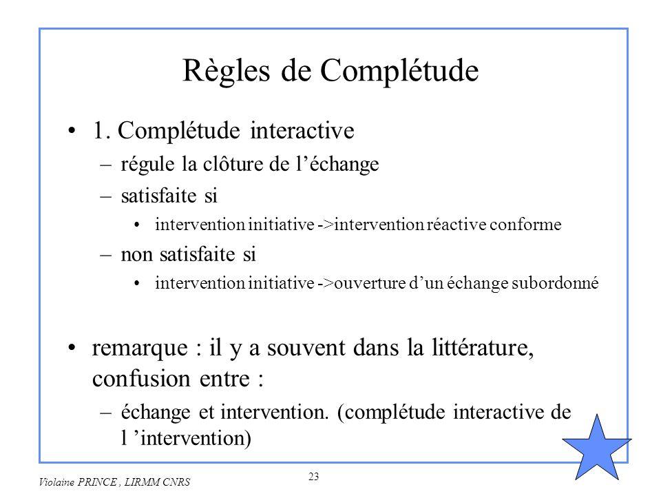 23 Violaine PRINCE, LIRMM CNRS Règles de Complétude 1. Complétude interactive –régule la clôture de léchange –satisfaite si intervention initiative ->