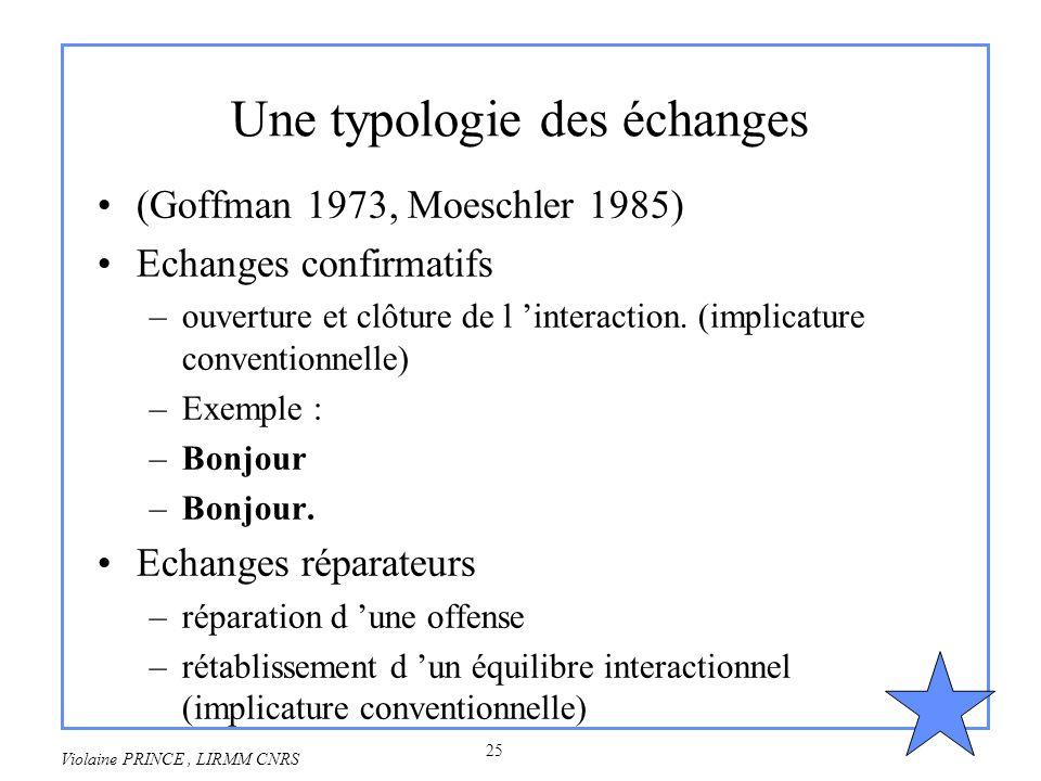 25 Violaine PRINCE, LIRMM CNRS Une typologie des échanges (Goffman 1973, Moeschler 1985) Echanges confirmatifs –ouverture et clôture de l interaction.
