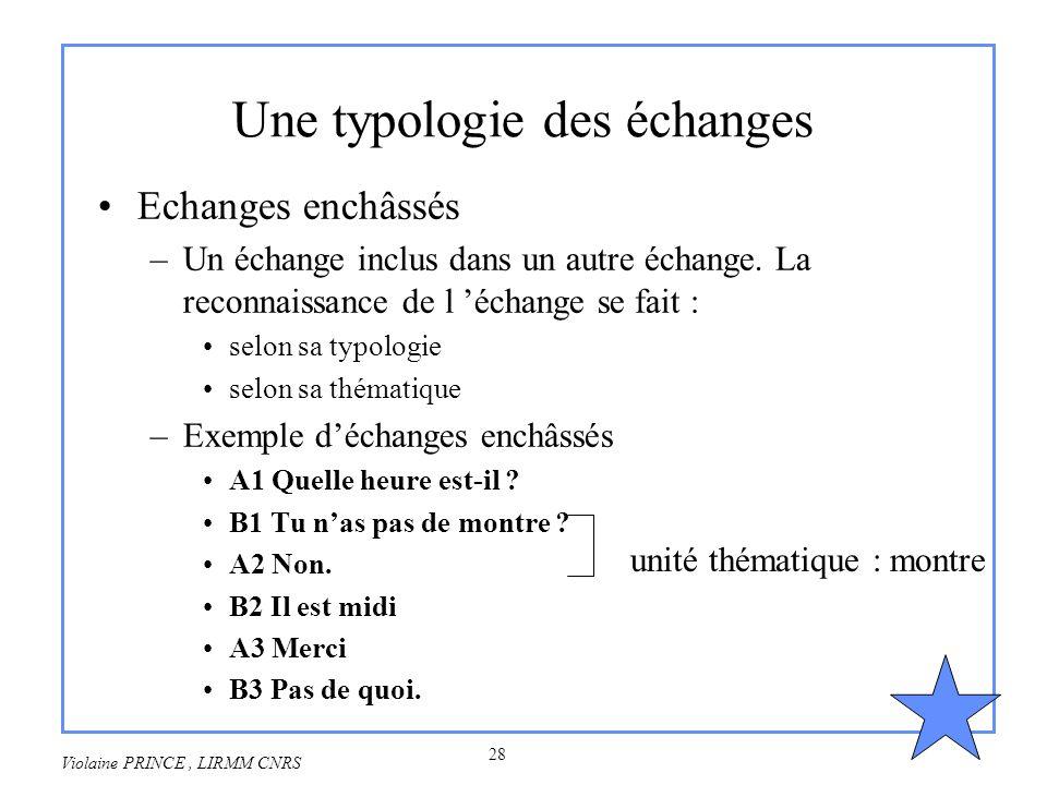 28 Violaine PRINCE, LIRMM CNRS Une typologie des échanges Echanges enchâssés –Un échange inclus dans un autre échange. La reconnaissance de l échange