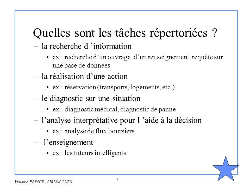 3 Violaine PRINCE, LIRMM CNRS Quelles sont les tâches répertoriées ? –la recherche d information ex : recherche dun ouvrage, dun renseignement, requêt