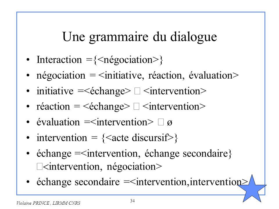 34 Violaine PRINCE, LIRMM CNRS Une grammaire du dialogue Interaction ={ } négociation = initiative = réaction = évaluation = ø intervention = { } écha
