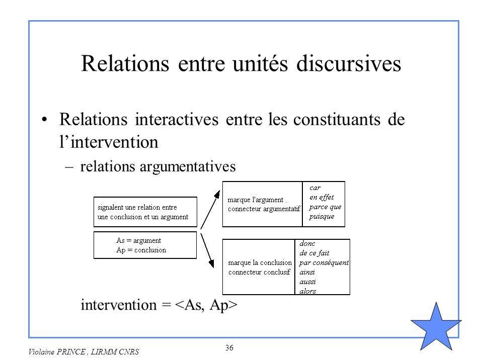 36 Violaine PRINCE, LIRMM CNRS Relations entre unités discursives Relations interactives entre les constituants de lintervention –relations argumentat