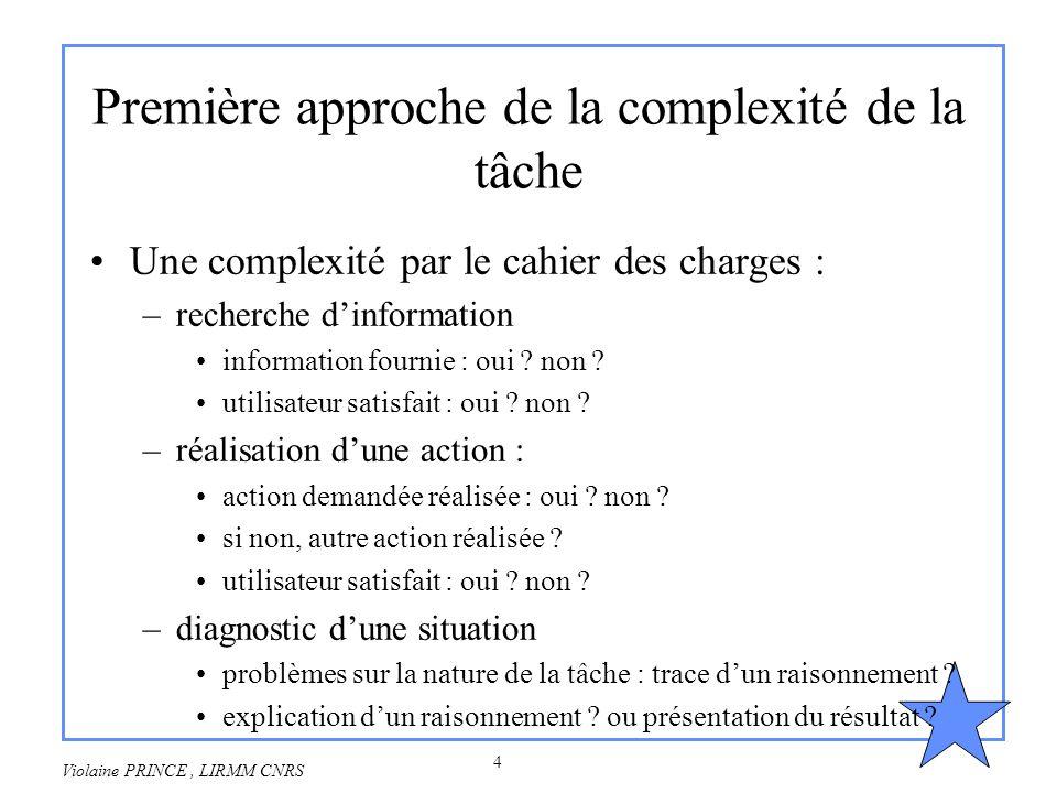 4 Violaine PRINCE, LIRMM CNRS Première approche de la complexité de la tâche Une complexité par le cahier des charges : –recherche dinformation inform