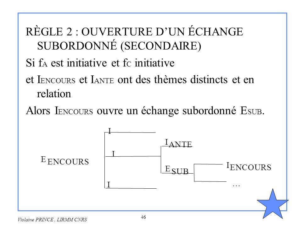 46 Violaine PRINCE, LIRMM CNRS RÈGLE 2 : OUVERTURE DUN ÉCHANGE SUBORDONNÉ (SECONDAIRE) Si f A est initiative et f C initiative et I ENCOURS et I ANTE