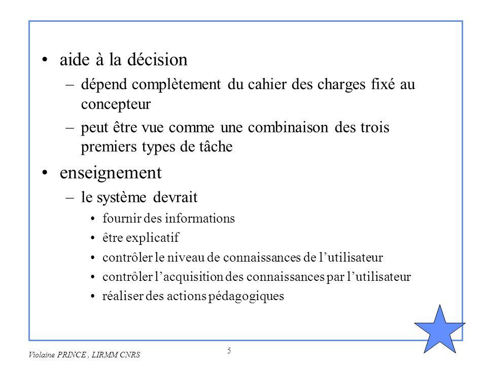 5 Violaine PRINCE, LIRMM CNRS aide à la décision –dépend complètement du cahier des charges fixé au concepteur –peut être vue comme une combinaison de