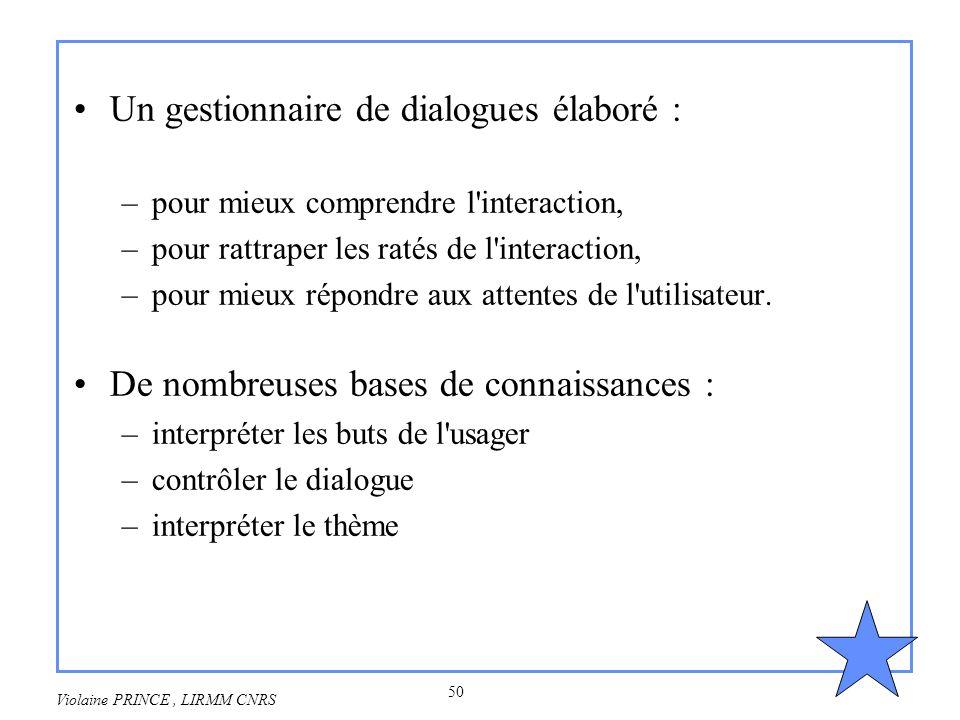 50 Violaine PRINCE, LIRMM CNRS Un gestionnaire de dialogues élaboré : –pour mieux comprendre l'interaction, –pour rattraper les ratés de l'interaction
