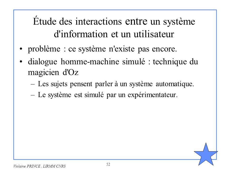 52 Violaine PRINCE, LIRMM CNRS Étude des interactions entre un système d'information et un utilisateur problème : ce système n'existe pas encore. dial