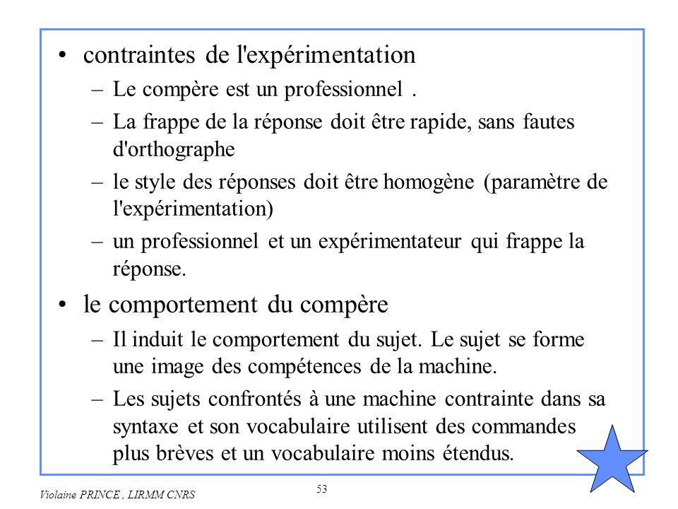53 Violaine PRINCE, LIRMM CNRS contraintes de l'expérimentation –Le compère est un professionnel. –La frappe de la réponse doit être rapide, sans faut