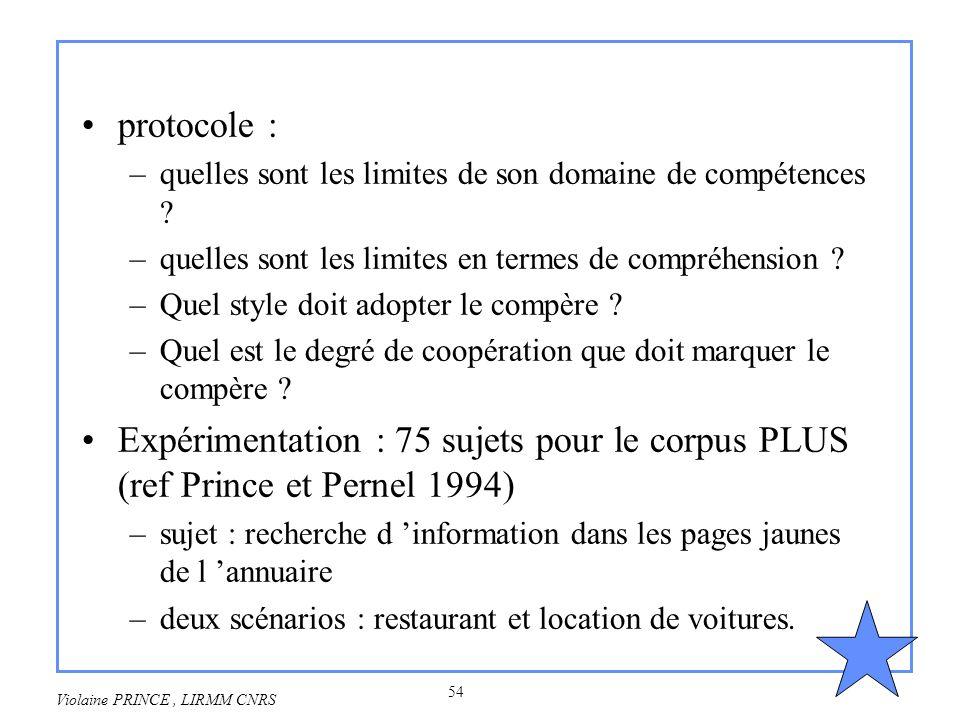 54 Violaine PRINCE, LIRMM CNRS protocole : –quelles sont les limites de son domaine de compétences ? –quelles sont les limites en termes de compréhens