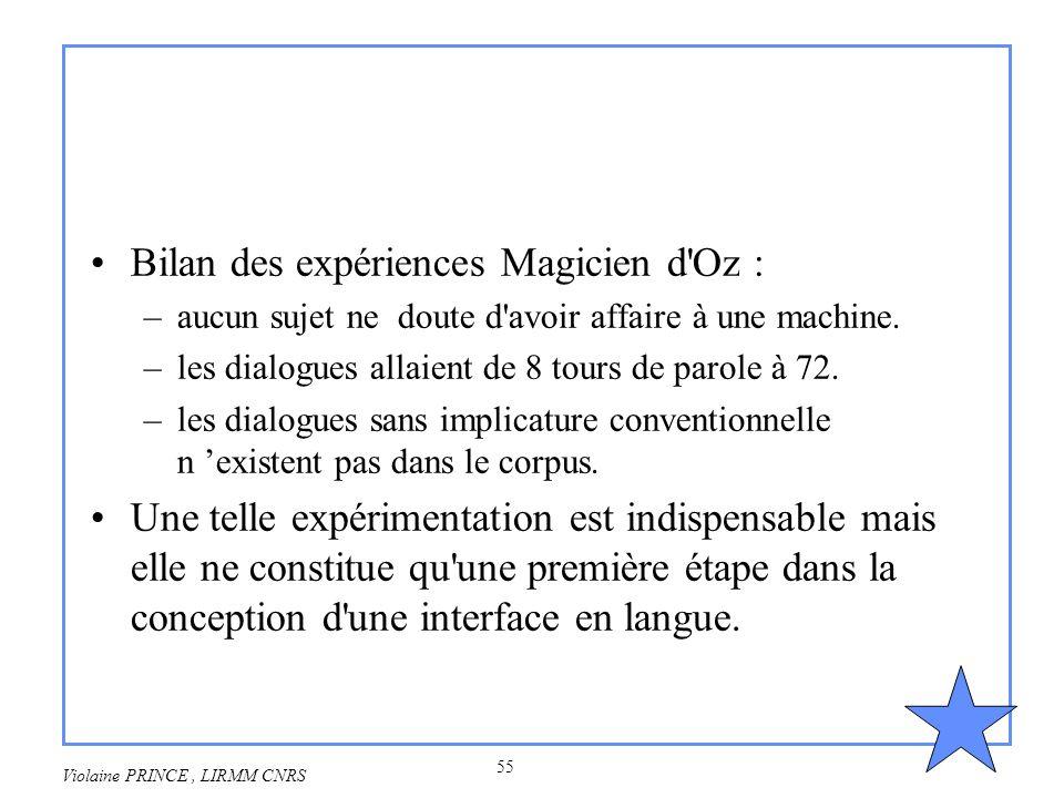 55 Violaine PRINCE, LIRMM CNRS Bilan des expériences Magicien d'Oz : –aucun sujet ne doute d'avoir affaire à une machine. –les dialogues allaient de 8