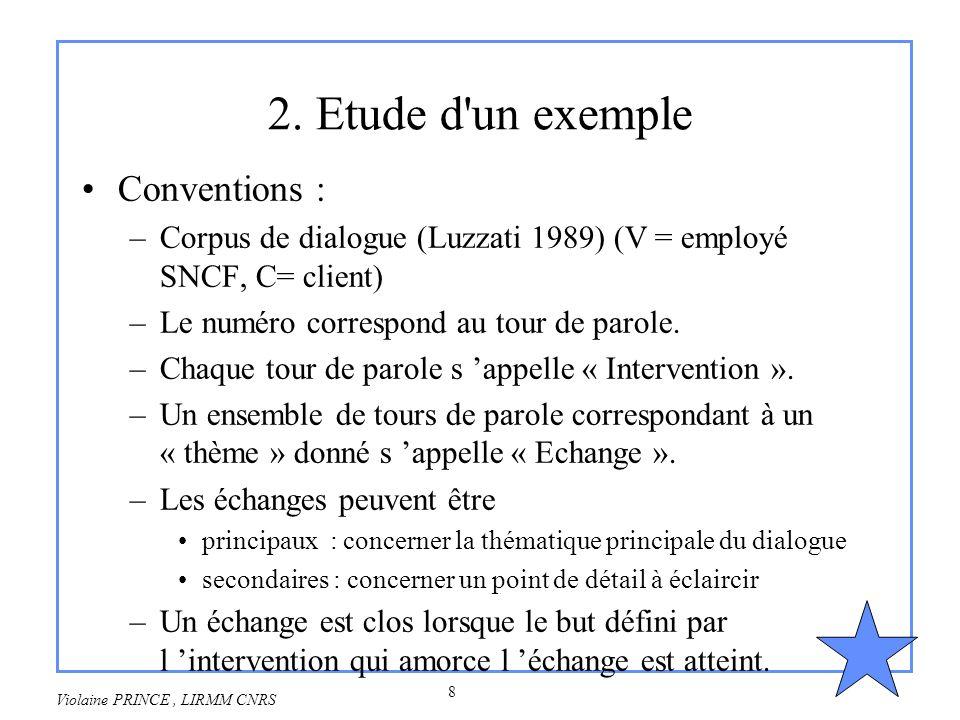 8 Violaine PRINCE, LIRMM CNRS 2. Etude d'un exemple Conventions : –Corpus de dialogue (Luzzati 1989) (V = employé SNCF, C= client) –Le numéro correspo