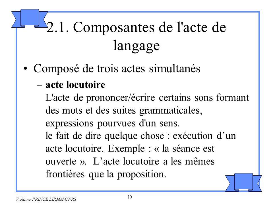 11 Violaine PRINCE LIRMM-CNRS –acte illocutoire Il sagit dun acte effectué en disant quelque chose.