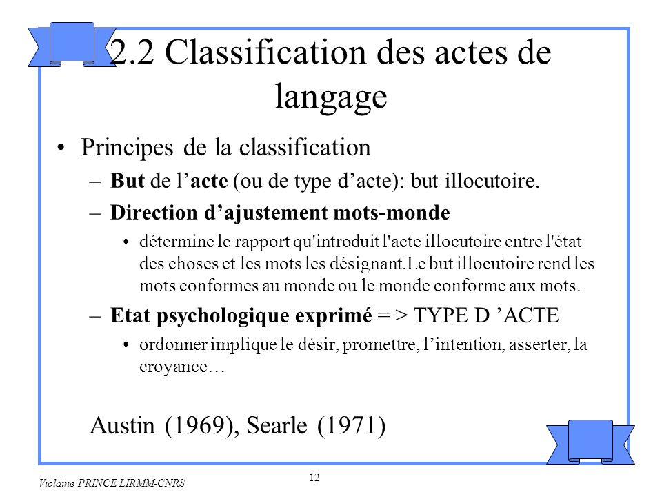 13 Violaine PRINCE LIRMM-CNRS Croisement de la classification et des types Types : assertifs, directifs, promissifs,expressifs, déclaratifs.
