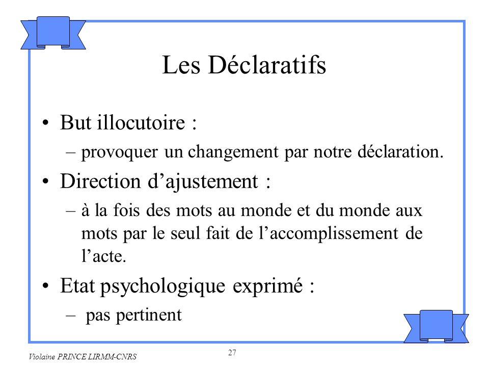 28 Violaine PRINCE LIRMM-CNRS Exemples : –Je vous déclare mari et femme.