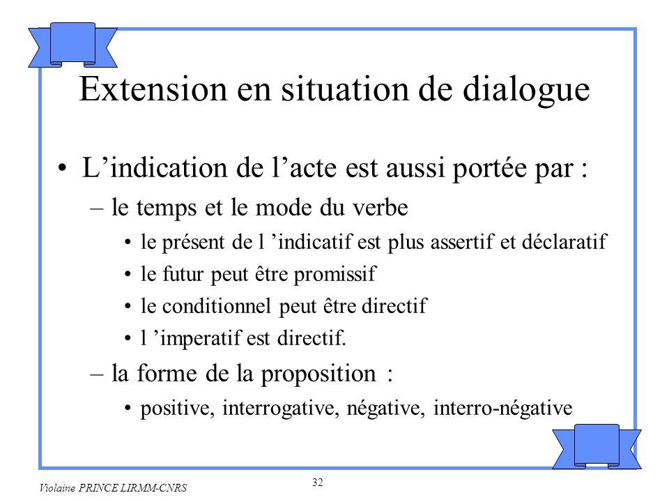 33 Violaine PRINCE LIRMM-CNRS But illocutoire et forme de la proposition Forme interrogative : –recherche dinformation –Où est Jean-Pierre .