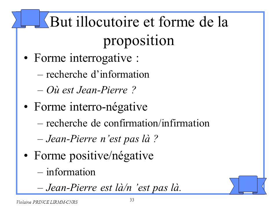 34 Violaine PRINCE LIRMM-CNRS 2.4 Actes de langages indirects Les actes de langages indirects concernent des énonciations non littérales : on dit autre chose que ce quon veut dire.