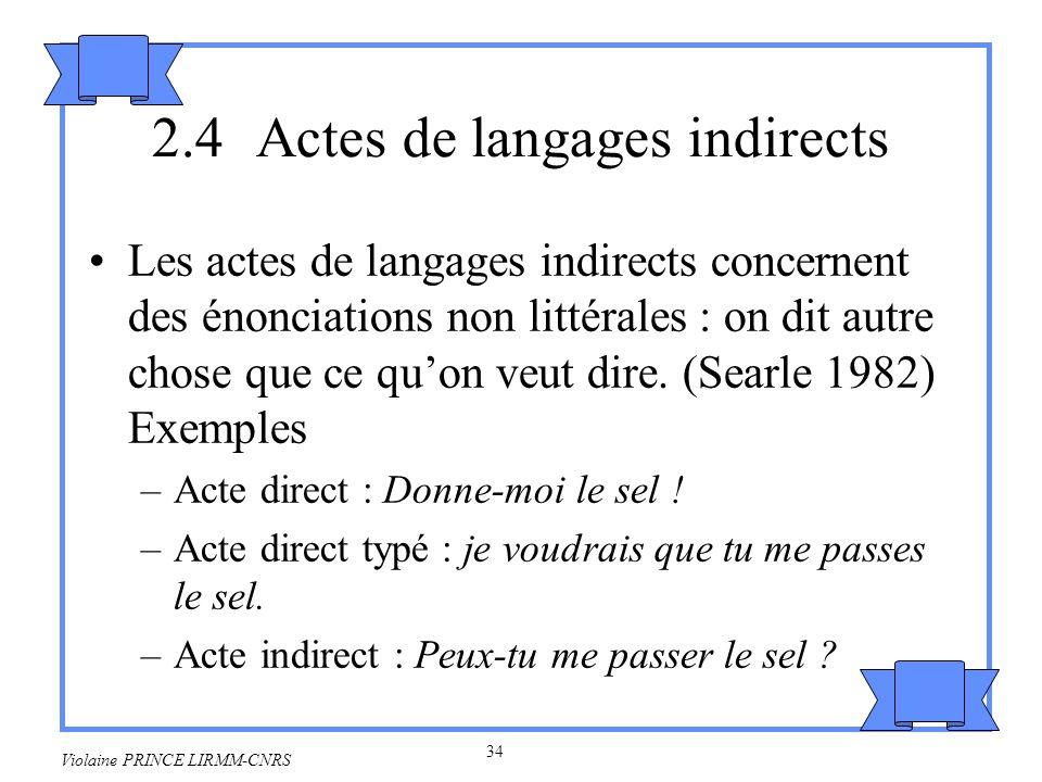 35 Violaine PRINCE LIRMM-CNRS On passe dun acte illocutoire secondaire littéral à un acte illocutoire primaire non littéral grâce à une stratégie inférentielle.