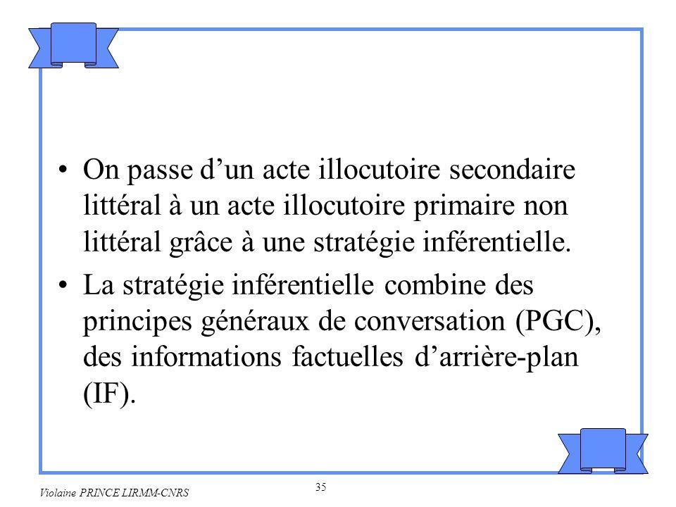 36 Violaine PRINCE LIRMM-CNRS Stratégie inférentielle Etape 1: –X ma posé la question de savoir si jai la possibilité de lui passer le sel.