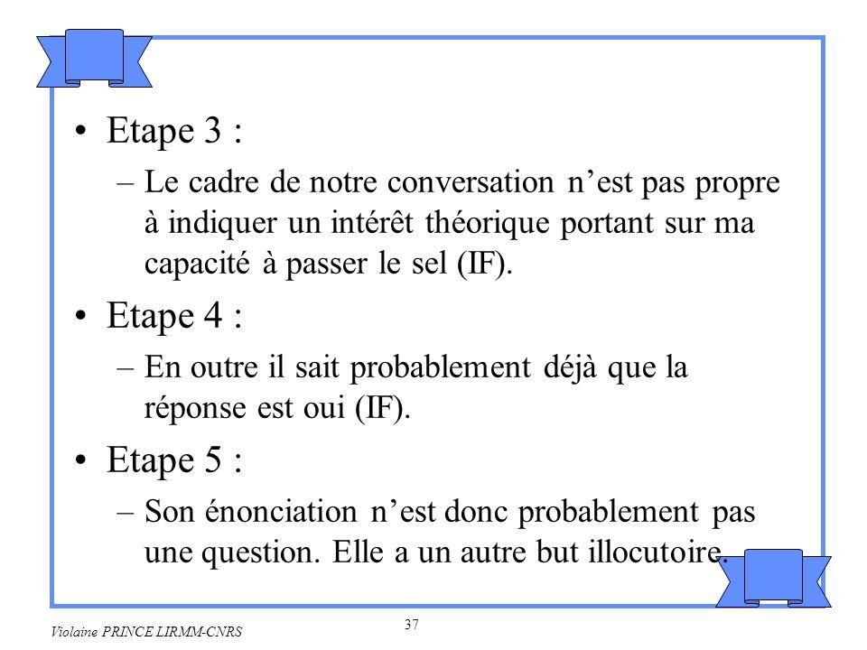 38 Violaine PRINCE LIRMM-CNRS Etape 6 : –Lune des conditions préparatoires de tout acte illocutoire directif est que A ait la possibilité daccomplir lacte prédiqué dans la condition de contenu propositionnel (Théorie des actes de langage).
