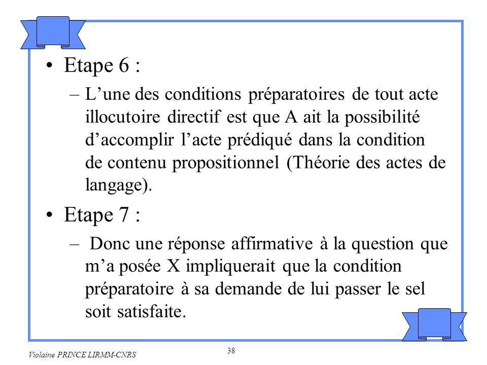 39 Violaine PRINCE LIRMM-CNRS Etape 8 : –Nous sommes en train de déjeuner et lon se sert normalement de sel à table.