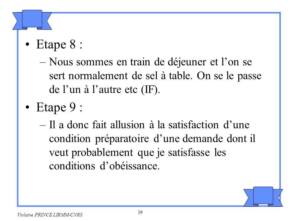 40 Violaine PRINCE LIRMM-CNRS Etape 10 : –Donc en labsence de tout autre but illocutoire plausible, il me demande probablement de lui passer le sel.