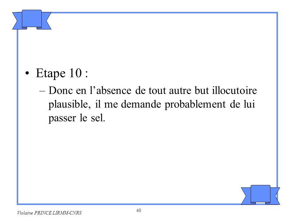 41 Violaine PRINCE LIRMM-CNRS Formalisation Gordon & Lakoff 1973 Règles dinterprétation des requêtes –REQUETE(L, FAIRE(I,A)) -> CAPACITE (I, FAIRE(I,A)) Si le locuteur L demande à son interlocuteur I de faire A alors cest que I a la capacité de faire A.
